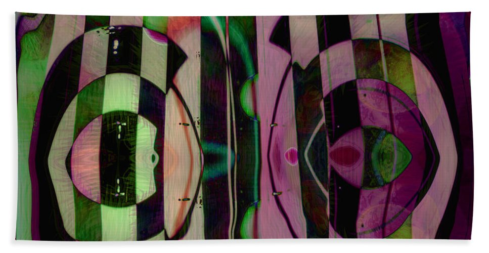 Face To Face Beach Towel featuring the digital art Face 2 Face by Linda Sannuti