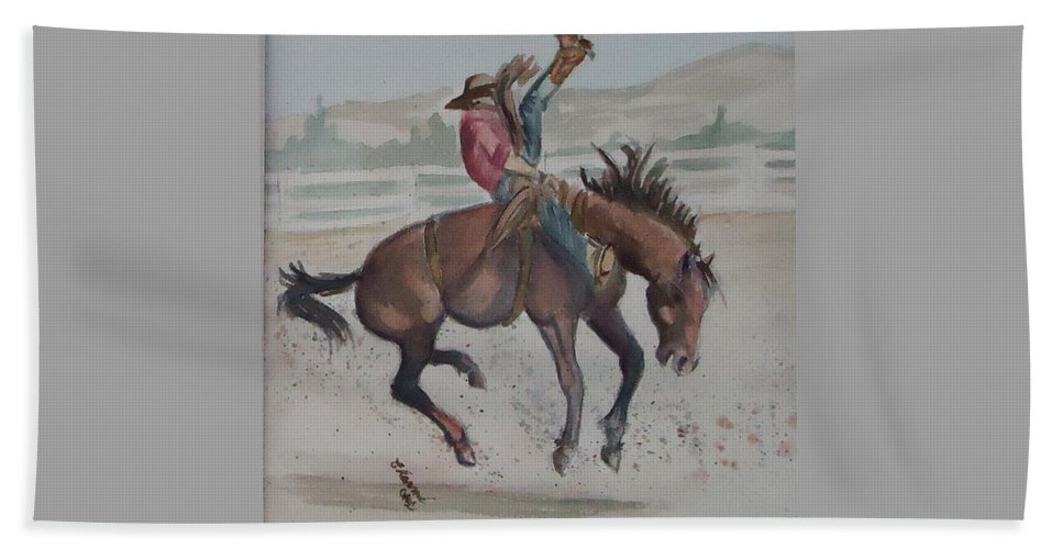 This Bronc Is A Sunfisher !bronco Beach Towel featuring the painting Face Meet The Chaps by Charme Curtin