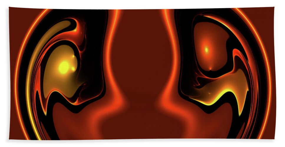 Abstract Face Together Eye Eyes Symbol Friendship Friends Couple Balance Brown Beach Towel featuring the photograph Face To Face by Steve K