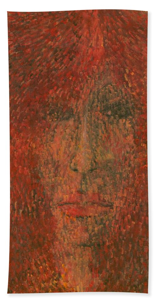 Colour Beach Towel featuring the painting Face by Wojtek Kowalski