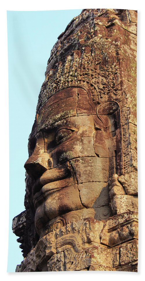 Siem Reap Beach Towel featuring the photograph Faces Of The Bayon Temple - Siem Reap, Cambodia by Jon Cotroneo