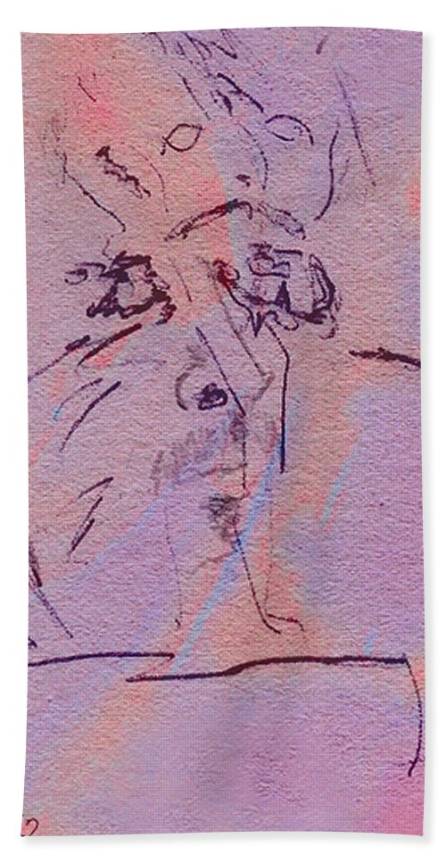 Abstract Beach Sheet featuring the mixed media Faces Of Trivia by Steve Karol