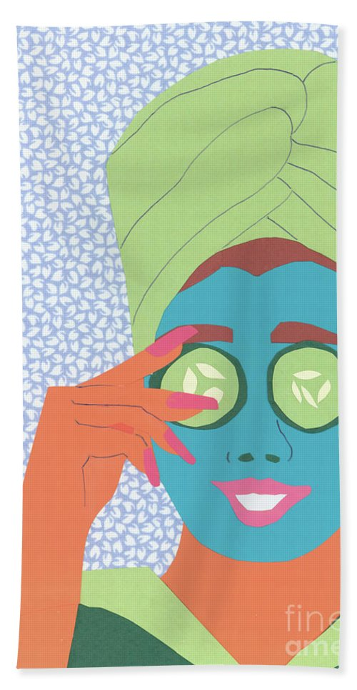 Face Beach Towel featuring the mixed media Facial Masque by Debra Bretton Robinson