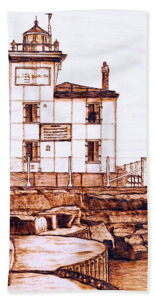 Lighthouse Beach Towel featuring the pyrography Fair Port Harbor by Danette Smith