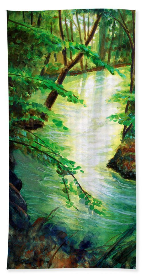 Forest Beach Towel featuring the painting Fairfax Summer by Ken Meyer