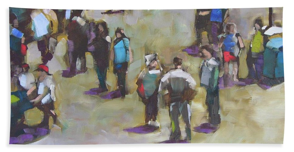 Oil Beach Towel featuring the painting Fairgoers by Mary McInnis