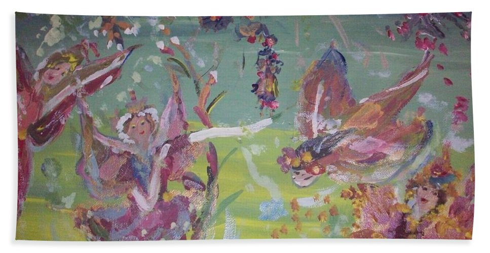 Fairies Beach Towel featuring the painting Fairy Ballet by Judith Desrosiers