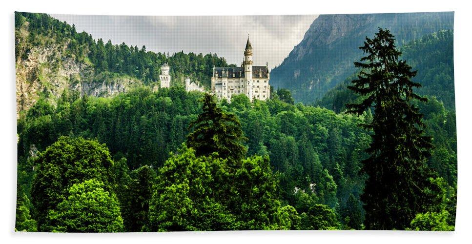 Castle Beach Towel featuring the photograph Fairytale Castle Neuschwanstein by Wolfgang Stocker