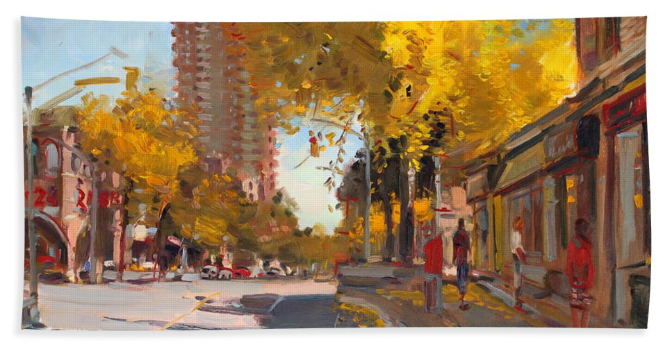 Fall In Canada Beach Towel featuring the painting Fall 2010 Canada by Ylli Haruni
