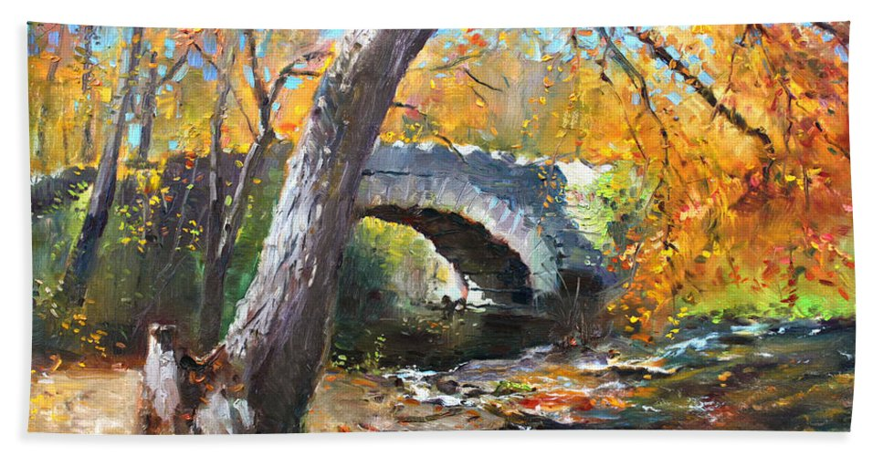 Bridge Beach Towel featuring the painting Fall At Three Sisters Islands by Ylli Haruni