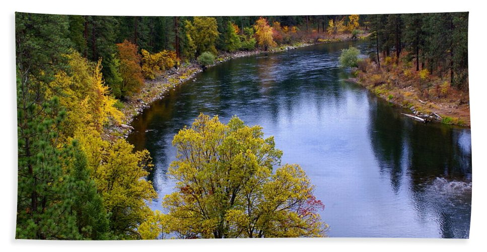 Nature Beach Towel featuring the photograph Fall Colors On The River by Ben Upham III