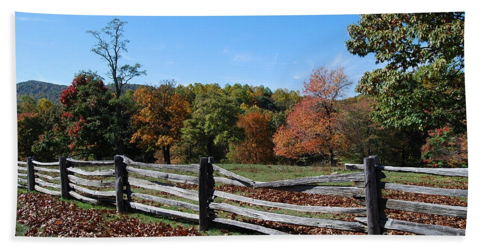 Rural Beach Towel featuring the photograph Fall Fence by Eric Liller
