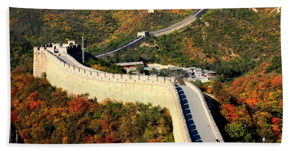 The Great Wall Beach Towel featuring the photograph Fall Foliage At The Great Wall by Carol Groenen