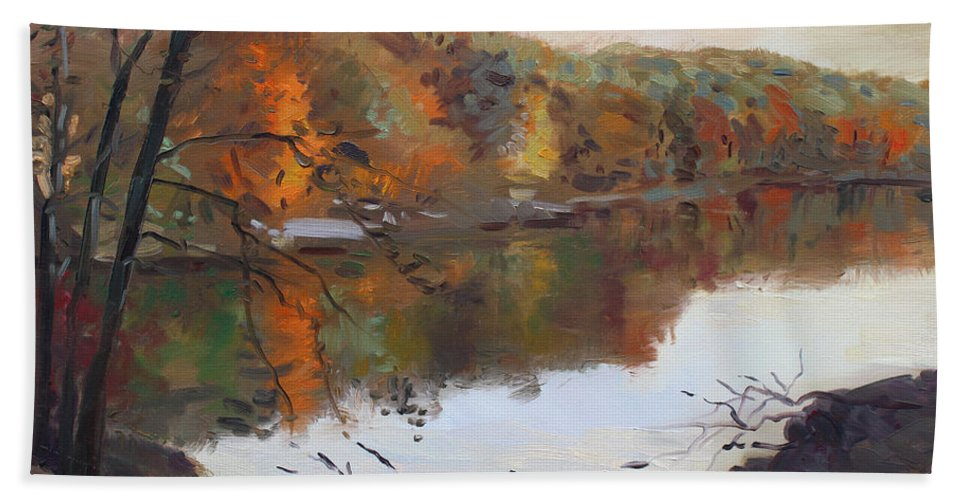 Landscape Beach Towel featuring the painting Fall In 7 Lakes by Ylli Haruni