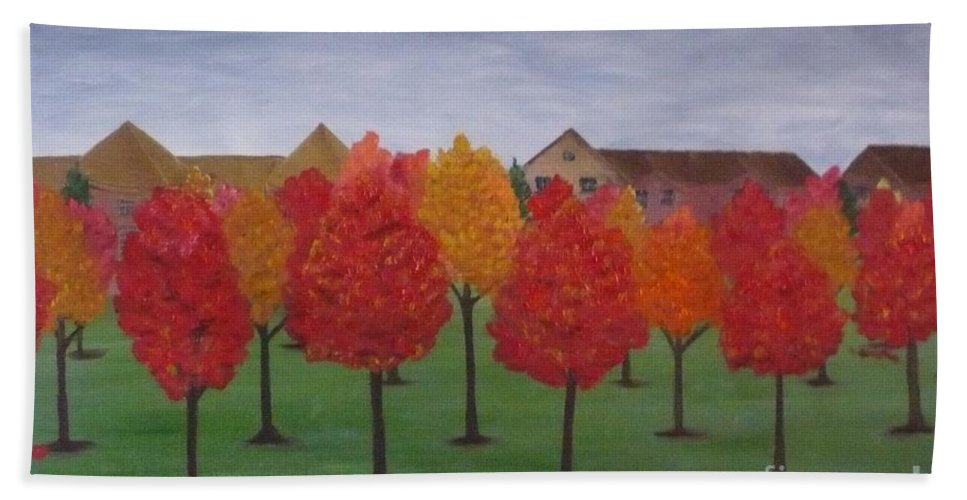 Fall Beach Towel featuring the painting Fall In Markham by Monika Shepherdson
