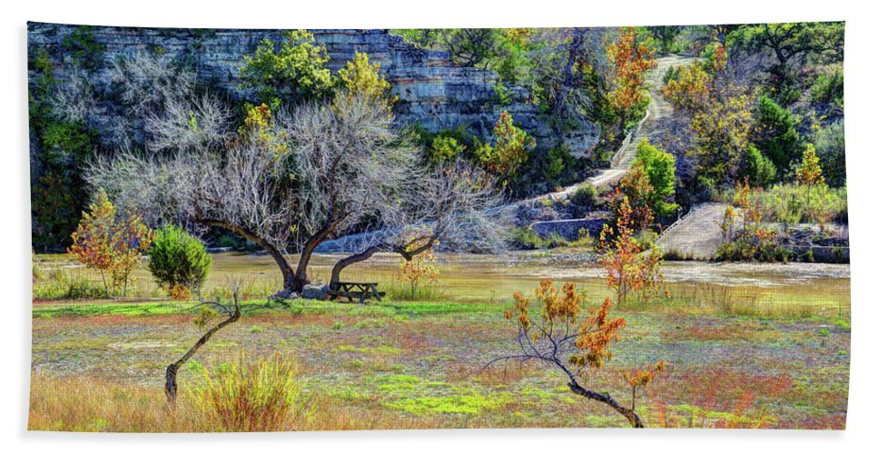 Fall In The Texas Hill Country Beach Towel featuring the photograph Fall In The Texas Hill Country by Savannah Gibbs