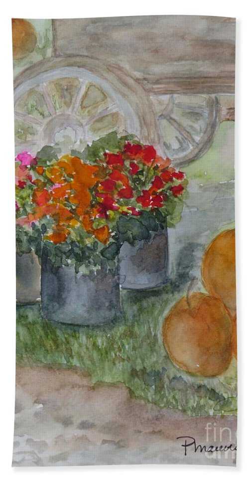 Pumpkins Beach Towel featuring the painting Fall In Vermont by Peggy Maunsell