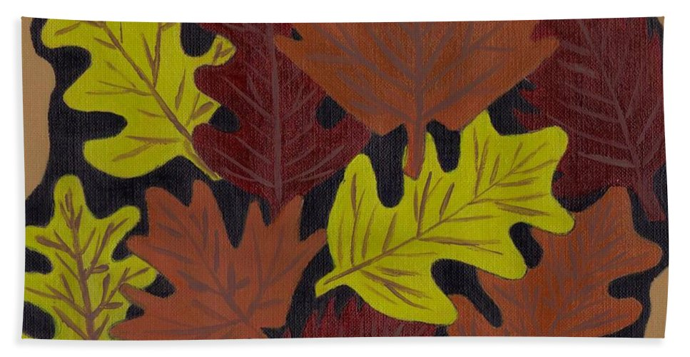 Leaves Beach Towel featuring the painting Fall Leaves by Jill Christensen