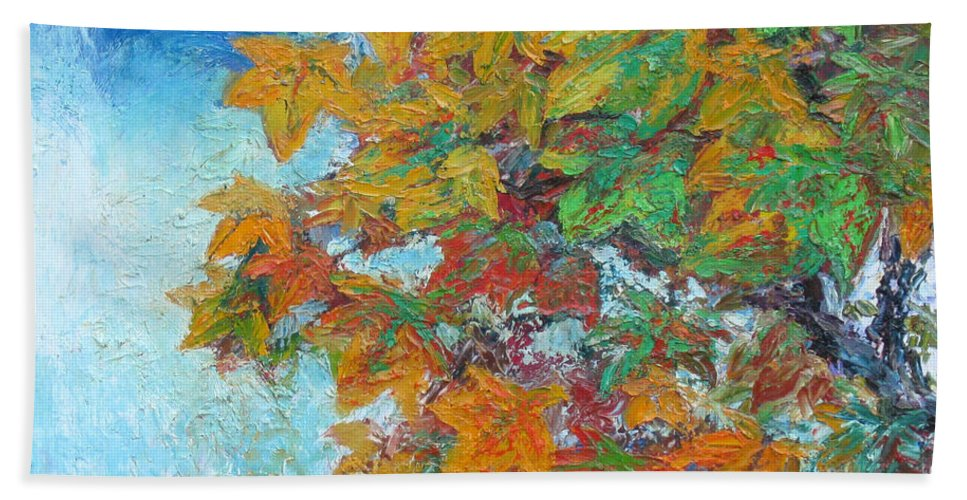 Fall Beach Towel featuring the painting Fall Leaves by Meihua Lu