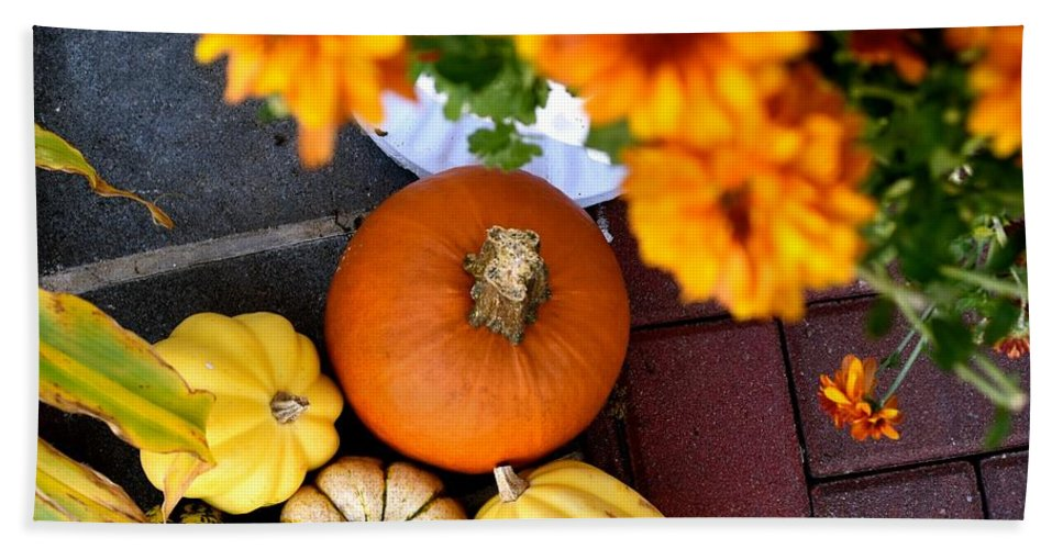 Fall Beach Towel featuring the photograph Fall Mums And Pumpkins by Bri Lou