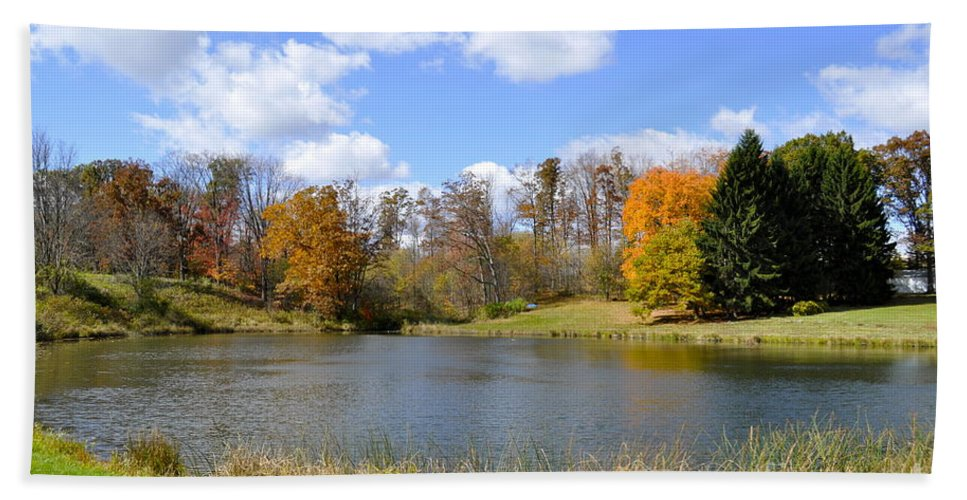Fall Beach Towel featuring the photograph Fall Pond by Penny Neimiller