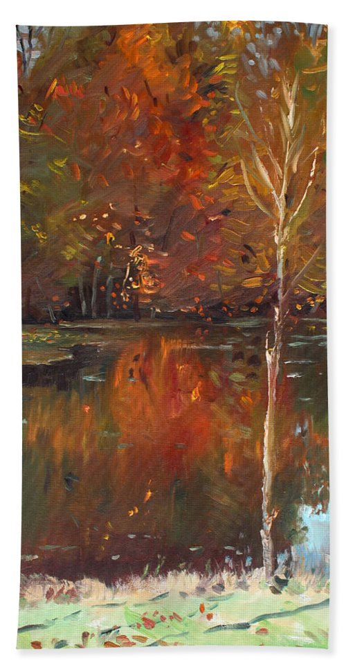 Landscape Beach Towel featuring the painting Fall Reflection by Ylli Haruni