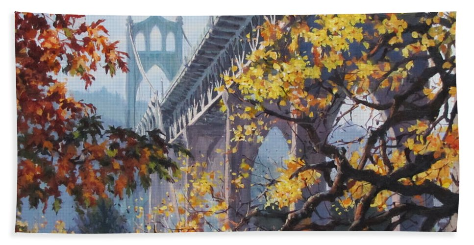 Portland Beach Towel featuring the painting Fall St Johns by Karen Ilari