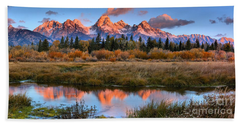 Teton Sunrise Beach Towel featuring the photograph Fall Teton Tip Reflections by Adam Jewell