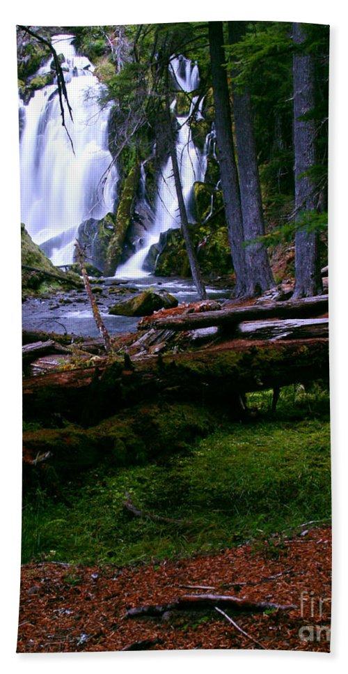 Waterfall Beach Towel featuring the photograph Fall Through by Peter Piatt