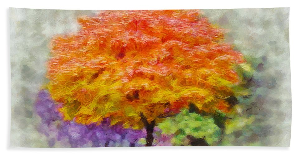 Tree Beach Towel featuring the painting Fall Tree by Greg Collins