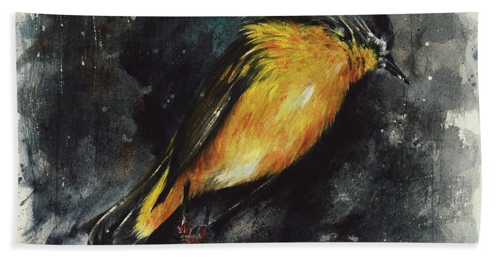 Abstract Beach Towel featuring the painting Fallen Angel by Rachel Christine Nowicki