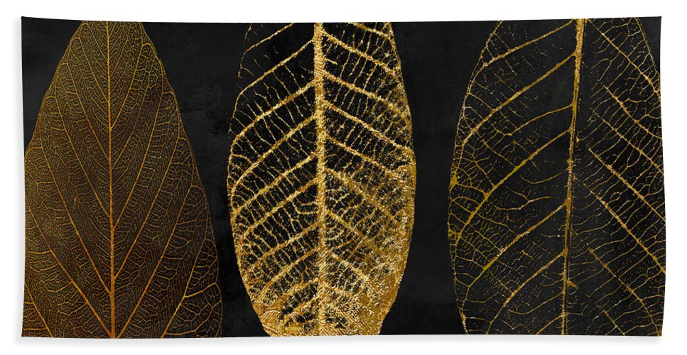 Leaf Beach Towel featuring the painting Fallen Gold II Autumn Leaves by Mindy Sommers