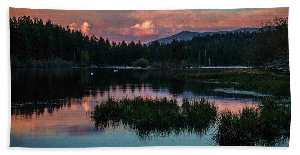 Sunset Beach Towel featuring the photograph Fallen Leaf Sunset Serenity by Mike Herron