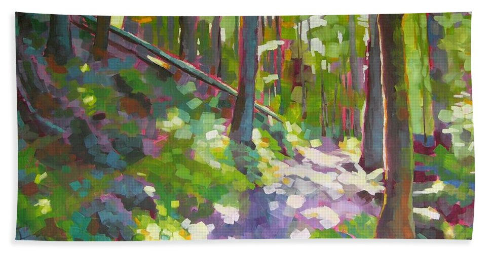 Landscape Beach Towel featuring the painting Fallen Log by Mary McInnis