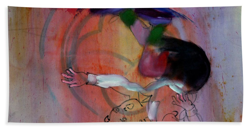 Fall Beach Towel featuring the painting Falling Boy by Charles Stuart