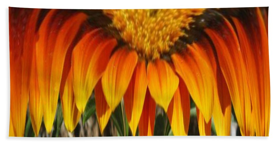 Gold Flower Beach Towel featuring the digital art Falling Fire by Barbara Griffin
