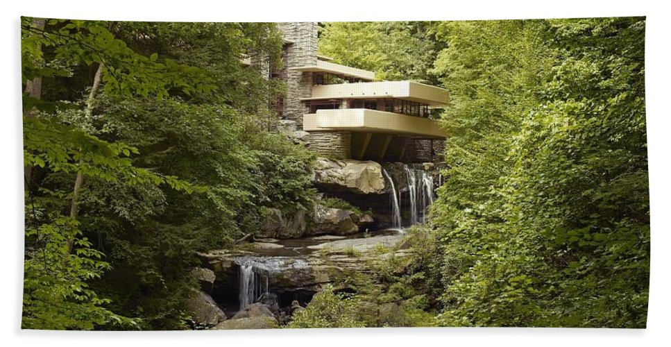 Fallingwater Beach Towel featuring the digital art Fallingwater by Carol Highsmith