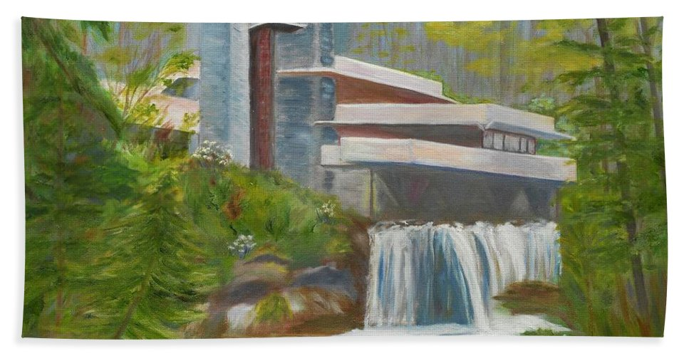 Frank Lloyd Wright Beach Towel featuring the painting Falling Water by Jamie Frier