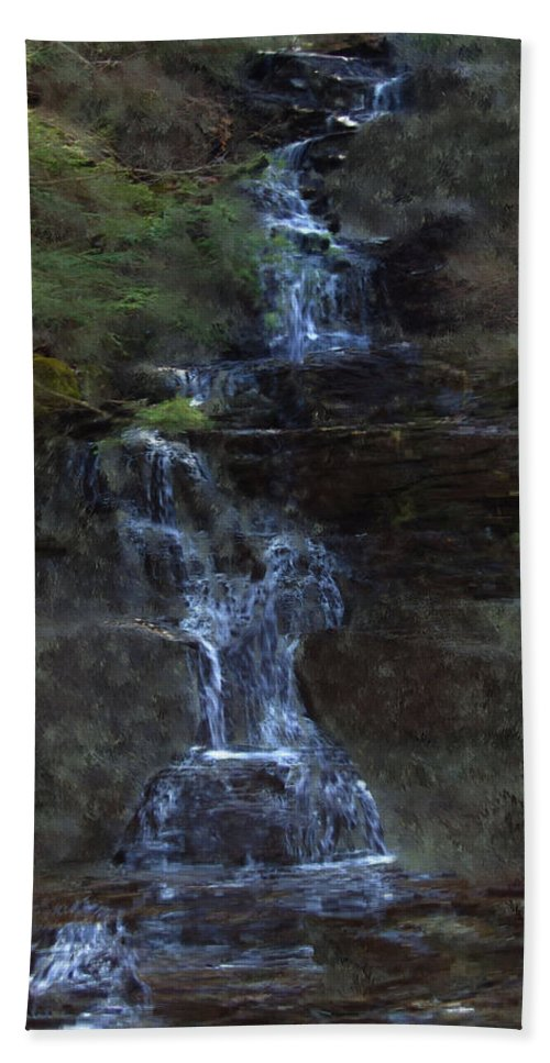 Beach Sheet featuring the photograph Falls At 6 Mile Creek Ithaca N.y. by David Lane