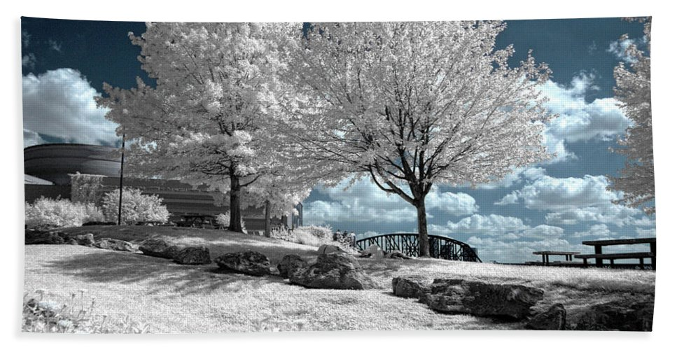 Falls Beach Towel featuring the photograph Falls Of The Ohio State Park by Amber Flowers