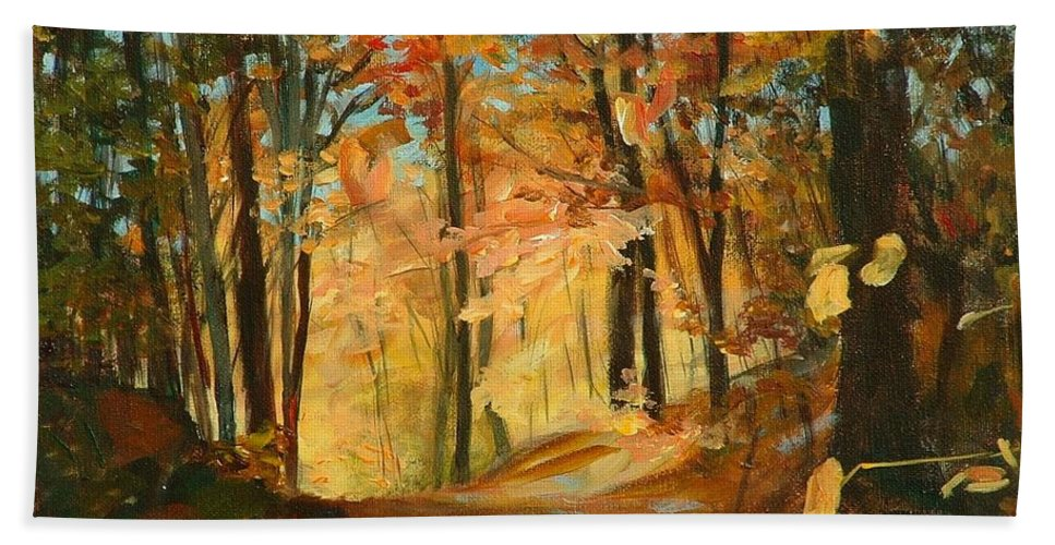 Painting Beach Towel featuring the painting Fall's Radiance In Quebec by Claire Gagnon