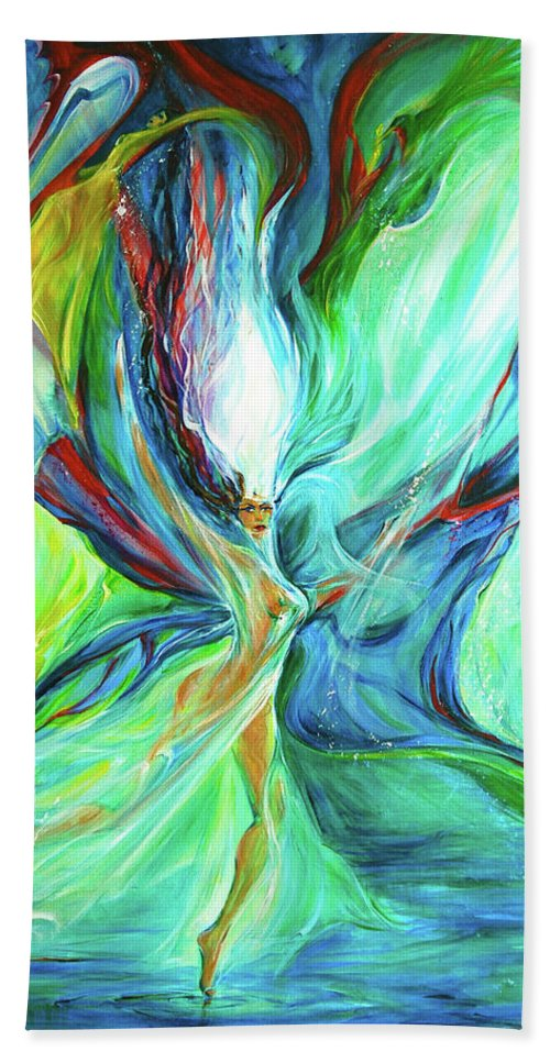 Butterfly Goddess Beach Towel featuring the painting Famik by Jennifer Christenson