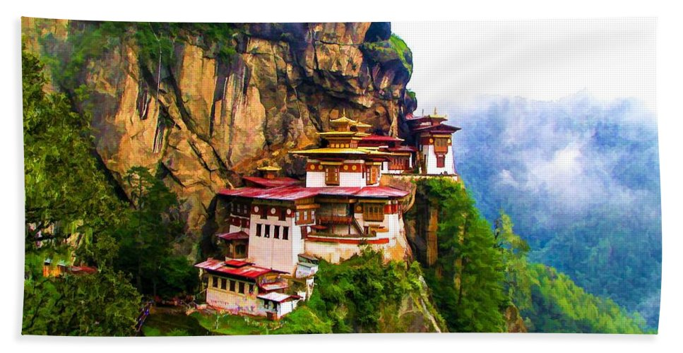 Famous Tigers Nest Monastery Of Bhutan Beach Towel featuring the painting Famous Tigers Nest Monastery Of Bhutan 11 by Jeelan Clark