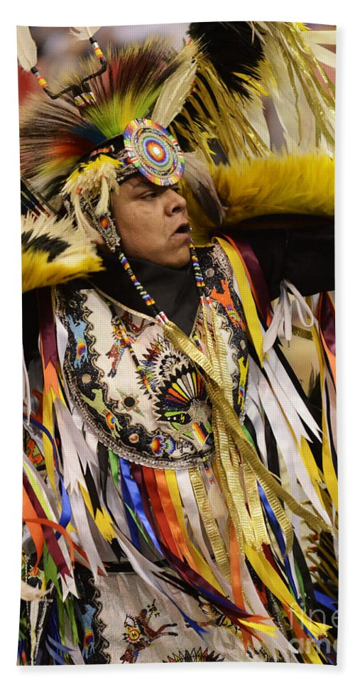 Pow Wow Beach Towel featuring the photograph Pow Wow Fancy Dancer 2 by Bob Christopher