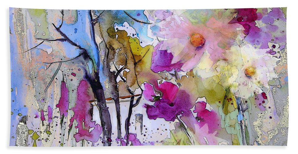 Flowers Beach Towel featuring the painting Fantaquarelle 02 by Miki De Goodaboom