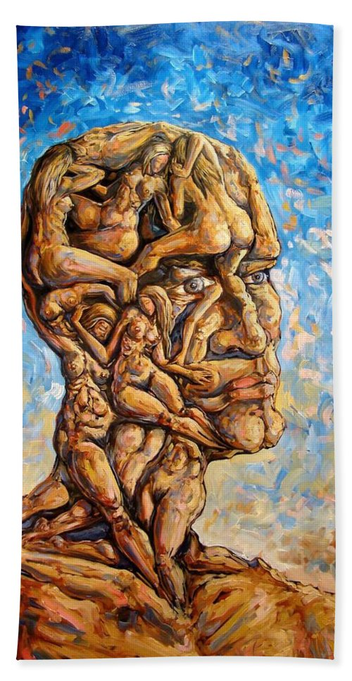 Surrealism Beach Towel featuring the painting Fantasies of a 120 years old man struggling to survive by Darwin Leon