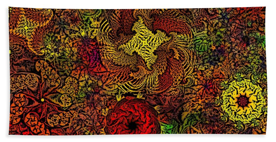 Abstract Digital Painting Beach Towel featuring the digital art Fantasy Flowers Woodcut by David Lane