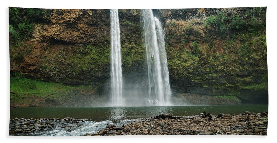 Waterfall Beach Towel featuring the photograph Fantasy Island Falls by Michael Peychich
