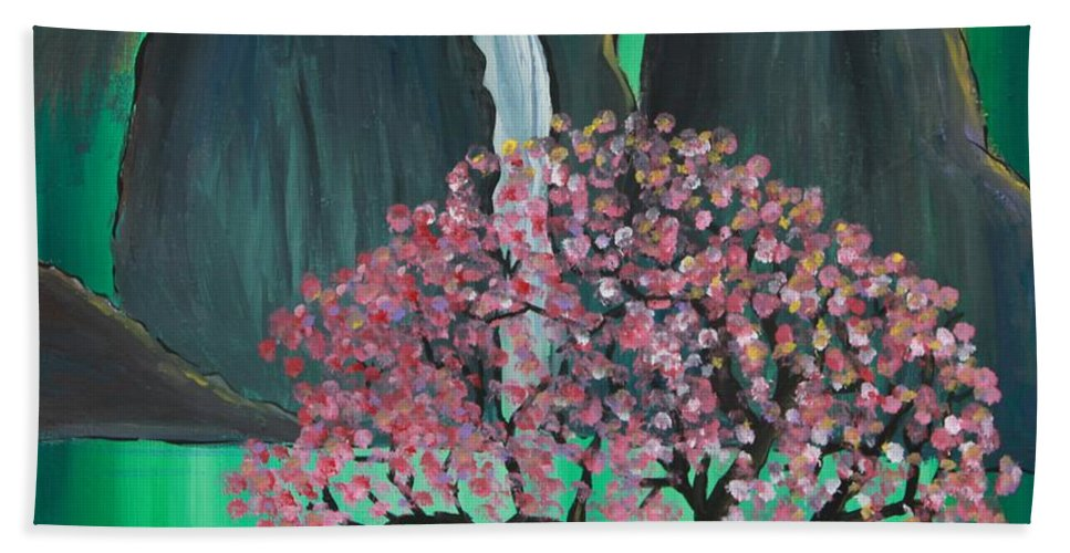 Japan Beach Towel featuring the painting Fantasy Japan by Jacqueline Athmann