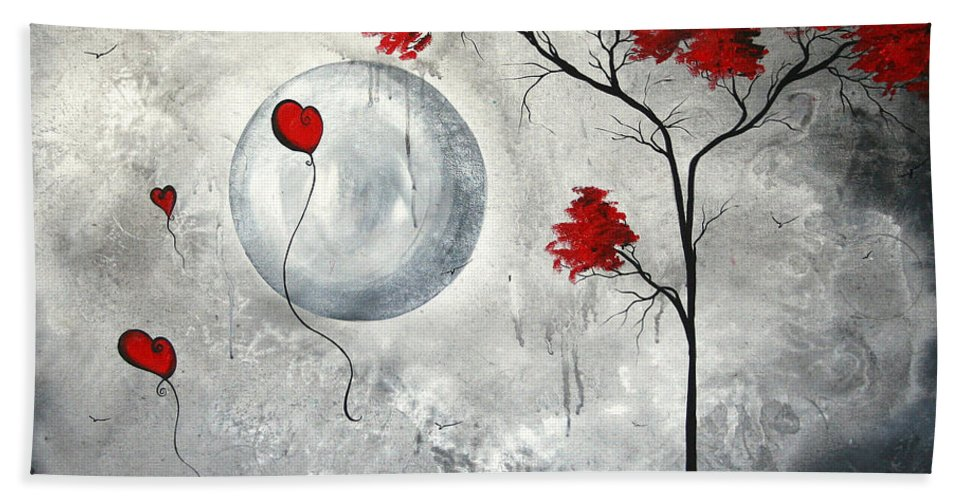 Abstract Beach Towel featuring the painting Far Side Of The Moon By Madart by Megan Duncanson